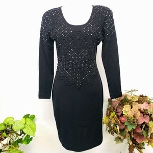 Liz Claiborne Embellished Sweater Dress M Vtg EUC